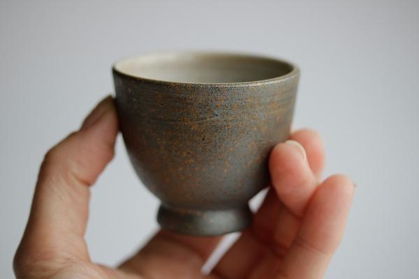 Cup 70ml anthrazit metallisch gesprenkelt Teeschale Tokoname Tokuta
