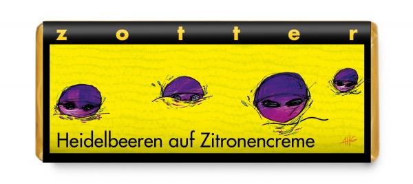 Zotter Heidelbeeren auf Zitronencreme