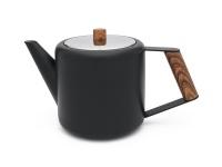 Teekanne 1,1L Duet Boston schwarz mit Holzgriff