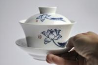 XL Gaiwan 300ml aus Porzellan Weiß mit blauem Dekor