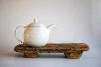Teebrett 37x18cm - antikes Küchenbrett mit Füßen