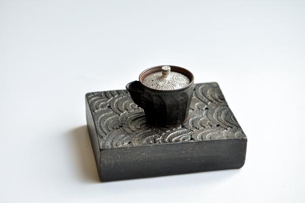 Teetisch/Teeboot rechteckig gemustert 16,5cm von Andrzej Bero