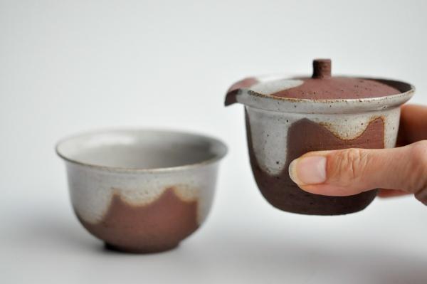 Shiboridashi & Cup SET 160ml rotbraun von Karina Klages
