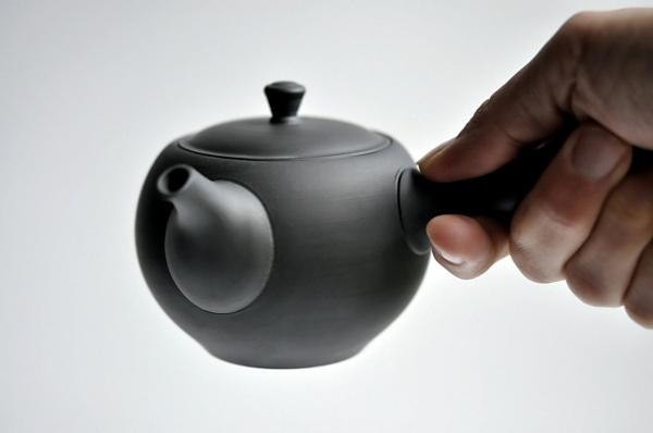 Schwarze Teekanne / Kyusu 230ml aus Tokoname