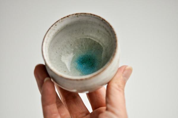 Teeschale rund 140ml grau/türkis von Michiko Shida