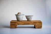 Teebrett 30x16cm - antikes Küchenbrett mit Füßen