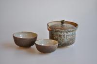Shiboridashi & 2 Cups SET 260ml Holzbrand gemustert von Ales Dancak