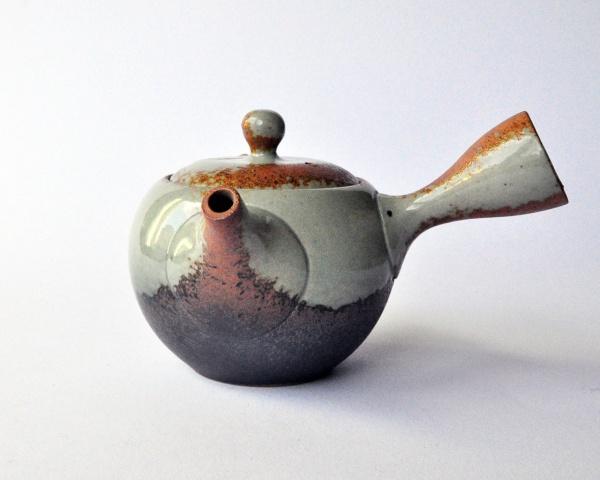 Teekanne Kyusu Grau-Braun, Kleine Kugelform 320ml