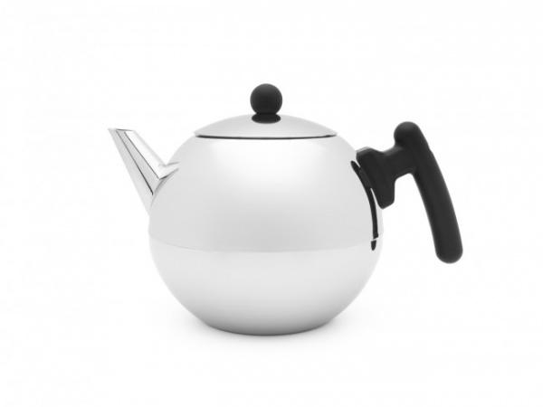Teekanne 1,2L Duet Bella Ronde mit flachem Boden - Schwarze Griffe