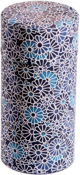 Teedose in japanischem Seidenpapier, 200g, dunkelblau