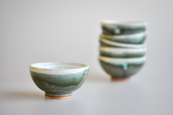 Teeschale 80ml moosgrün glasiert von Martin Koller