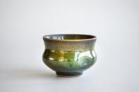 Teeschale mit Griffmulden grün 260ml von Franziska Köllner