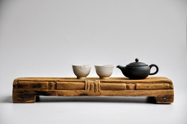 Teebrett 45x17cm - verziertes antikes Küchenbrett mit Füßen